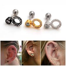 earring studs with loop 1 16g clear gem rhinestone studded loop ear studs
