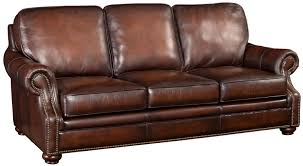 Corner Sofa Wood Brown Leather Sofa With Wood Exposed Bun Foot By Hooker Furniture