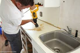 Replace Kitchen Countertop How To Install New Countertops On Old Cabinets The Happy Housie