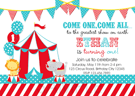 free printable circus themed birthday party invitations drevio