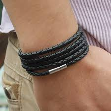 free leather bracelet images 5 laps leather bracelet men charm vintage black bracelet jpg