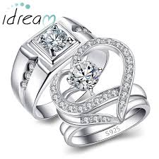 engagement rings sets cubic zirconia diamond engagement rings set for men and women