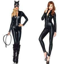 Halloween Costumes Womens Selling Cat Costume Latex Cat Suit Shiny Party Fashion