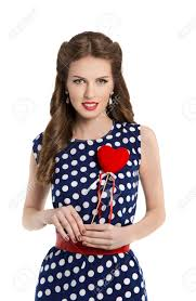 polka dot hair woman in polka dot dress with heart retro girl pin up hair style
