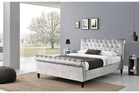 Bedroom Furniture Chesterfield St James Silver Crushed Velvet Sleigh Bed Home Condo
