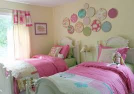 small shared bedroom ideas white dotted bed sheet dark grey bed