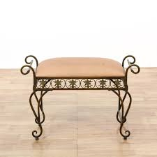 this vanity bench is featured in a polished brass this bohemian