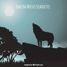 landscape background with wolf howling at the moon vector free