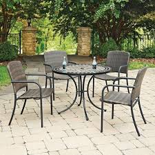 patio table with 4 chairs marble top 5 pc round outdoor dining table 4 chairs by home styles