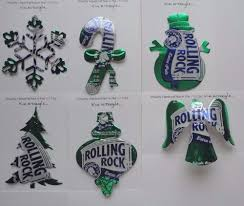 set of six handmade christmas ornaments recycled aluminum rolling