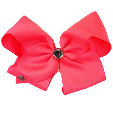 pink hair bow jojo siwa signature hair bow neon pink w large rhinestone jcpenney