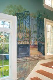 510 best wall murals images on pinterest wall murals mural hand painted garden gate mural in a hallway by artist renee macmurray