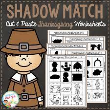 shadow matching thanksgiving cut paste worksheets digital