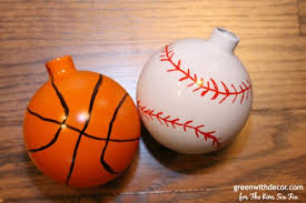make these easy diy baseball and basketball ornaments the