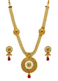 red necklace earring set images Buy bindhani gold plated red multi strand traditional bridal jpg