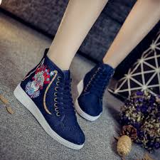 Comfortable Canvas Sneakers Facebook Embroidered High Cut Shoes Women Canvas Shoes Women Retro