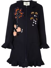 fendi jacket fendi fur floral appliqué coat women clothing fendi