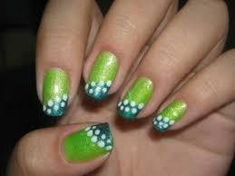 green polka dot nail design one stroke nail art techniquegreen