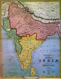 British India Map by Forces Campaigns Indian Mutiny 1857 58