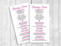 weddings by susan printable 8x4 wedding kissing menu custom