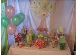 geeky crafty shabby chic pink and green baby shower candy buffet