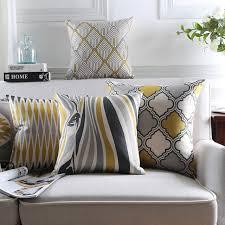 coussin pour canapé gris style nordique coussin couvre décor à la maison jaune décoratif