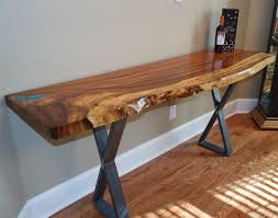 live edge table with turquoise inlay beautiful custom guanacaste entry table with turquoise inlay