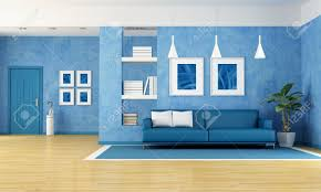 blue livingroom contemporary living room with blue sofa and door rendering the