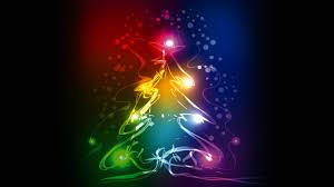 wallpaper christmas tree abstract colorful 4k celebrations