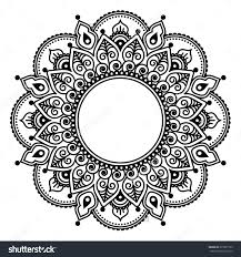 mehndi lace indian henna tattoo round design or pattern stock