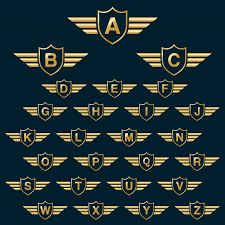 golden shield wins with capital alphabet letters logo icon with