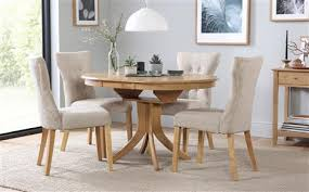Hudson Round Extending Dining Table 6 Chairs Set Bewley Oatmeal