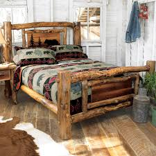 Cabin Bedroom Furniture Aspen Log Bed Frame Country Western Rustic Wood Bedroom