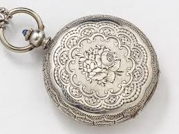 flowers with butterfly necklace images Sterling silver hand engraved pocket watch case necklace flowers jpg