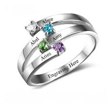 mothers ring 4 ribbon engraved mothers ring set split think engraved