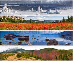 set of the 4 seasons landscape for banners stock photo colourbox