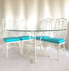 cast iron glass table 1960s faux bamboo six piece cast iron glass top table and chairs at
