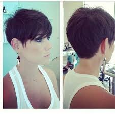 short hairstyles showing front and back views back view of a pixie haircut