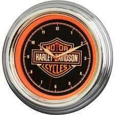 harley davidson bar u0026 shield orange led wall clock u2014 12in www