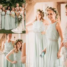mint green long country two pieces bridesmaid dresses 2018 modest
