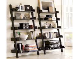 Corner Ladder Bookcase by Living Room White Comfort Shag Area Rug Gray Fabric Comfy Sofa