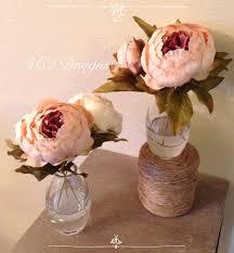 peony arrangement faux silk flower arrangement clear glass vase