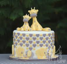 giraffe baby shower ideas looked in cake in white background theme combined to