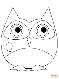 valentine day owl hugging a heart coloring page free printable