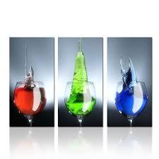 tableau en verre pour cuisine copie de verre de vin coloré sur toile d pour décoration de