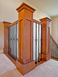 Iron Banister Spindles Craftsman Style Post And Rails With Wrought Iron Spindles