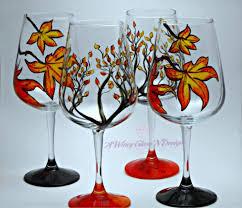 Modern Wine Glasses by Fall Hand Painted Wine Glasses U2013 A Wincy Glass N Design