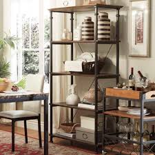 Bakers Rack Console Distressed Bookshelf Diy Bakers Rack With Wine Rack Dirty Oak 3