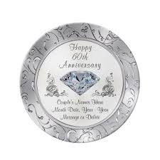 anniversary plate personalized diamond 60th anniversary plate zazzle