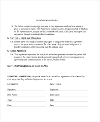 Non Disclosure Statement Template by Sle Non Disclosure Agreement Forms In Pdf 8 Free Documents